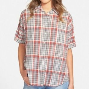 Madewell Courier Button Up Boxy Plaid Top
